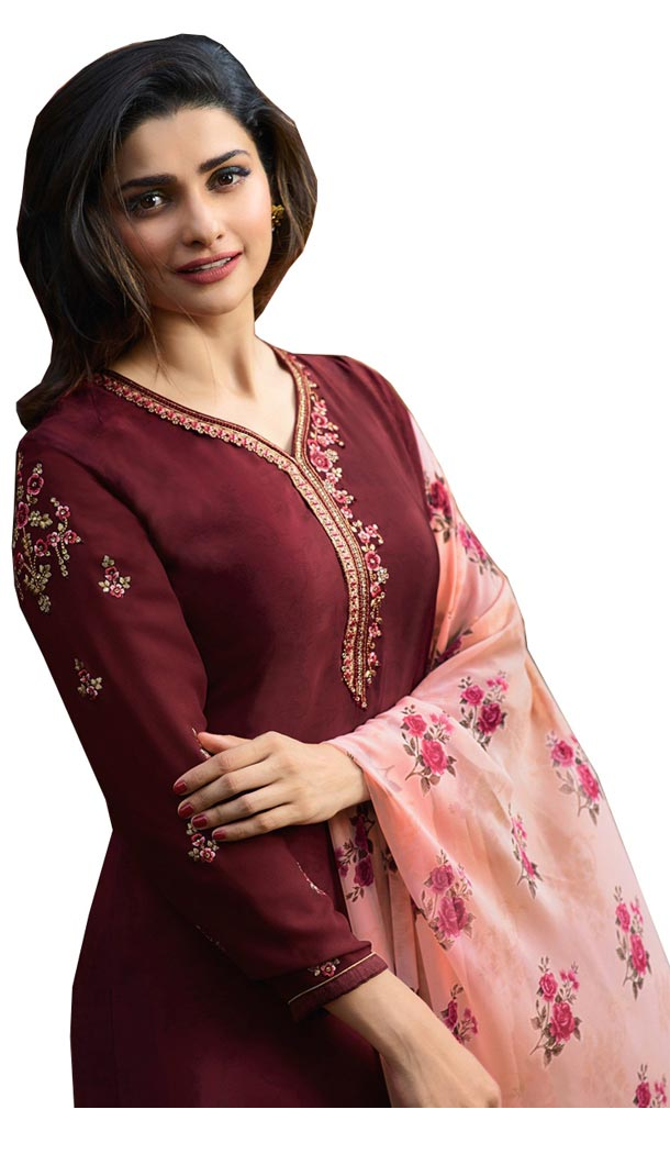 Bollywood Tv Star Prachi Desai in Maroon Color Crepe Salwar Kameez - 59428819