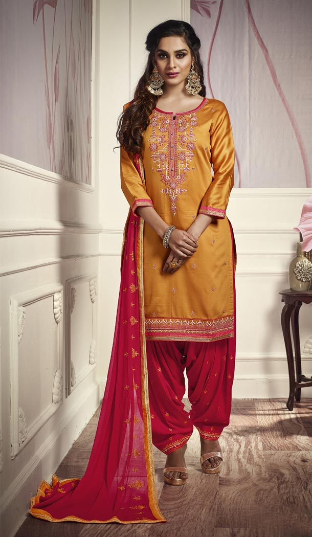 Gleaming Yellow Color Cotton Satin Attractive Party Panjabi Patiala Salwar Suit - 405248956