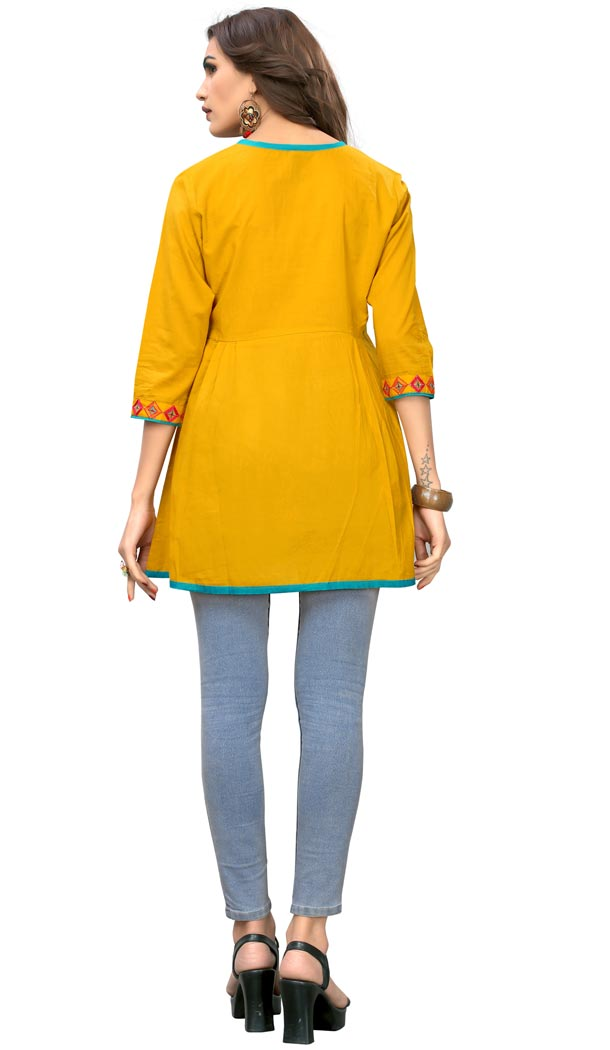 Enigmatic Musterd Yellow Color Cotton Party Wear Readymade Short Kurti - 394447590