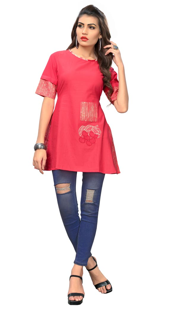Majesty Pink Color Cotton Party Wear Readymade Short Kurti - 394447591