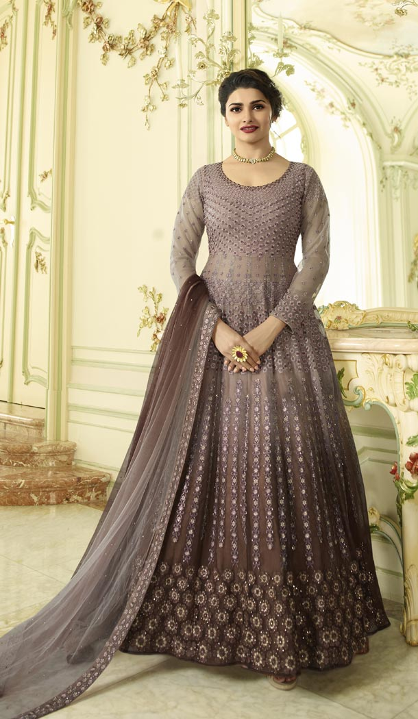 Prachi Desai Floor Length Designer Pakistani Abaya Salwar Kameez in Mauve and Brown - 59579009