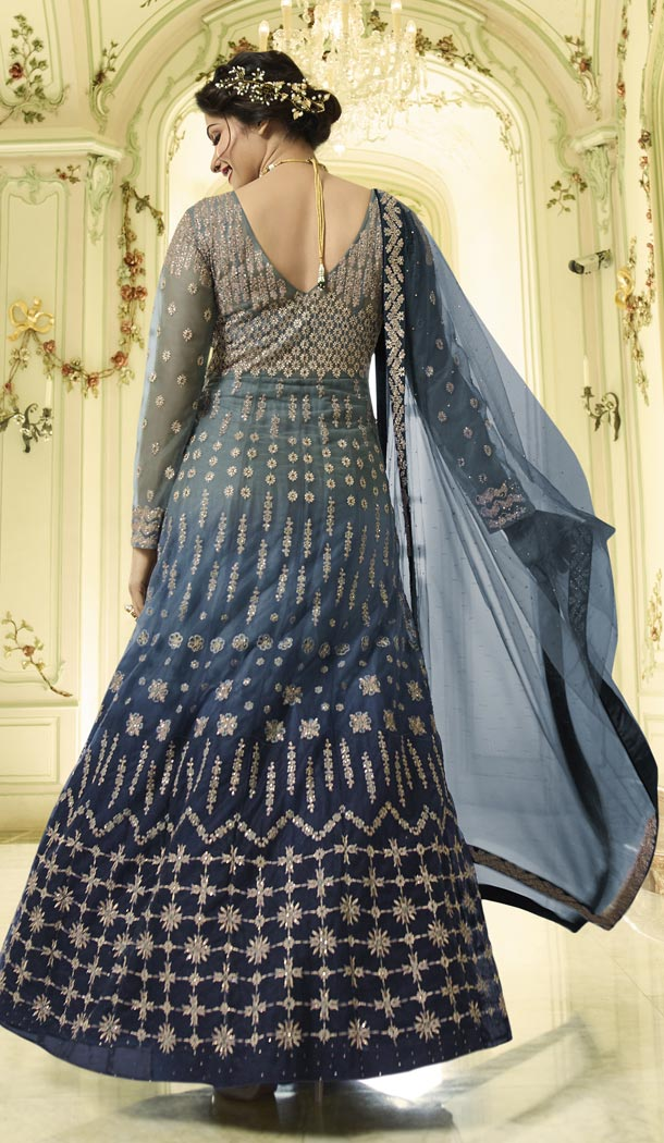 Prachi Desai Floor Length Designer Pakistani Abaya Salwar Kameez in Grey and Blue - 59579012