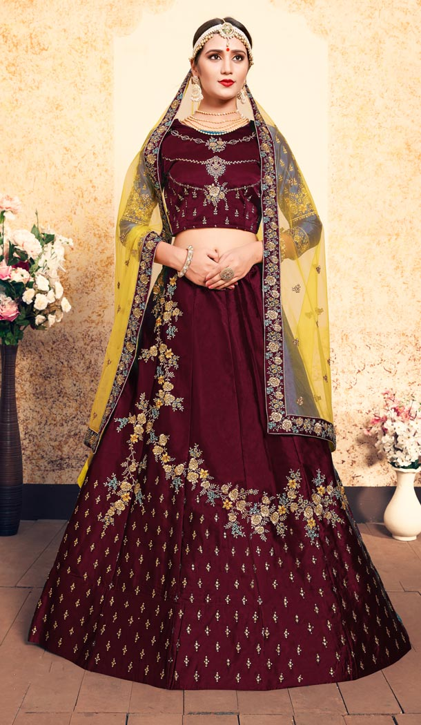 Attractive Maroon Color Satin Resham Embroidery Wedding Lehenga Choli - 59518934