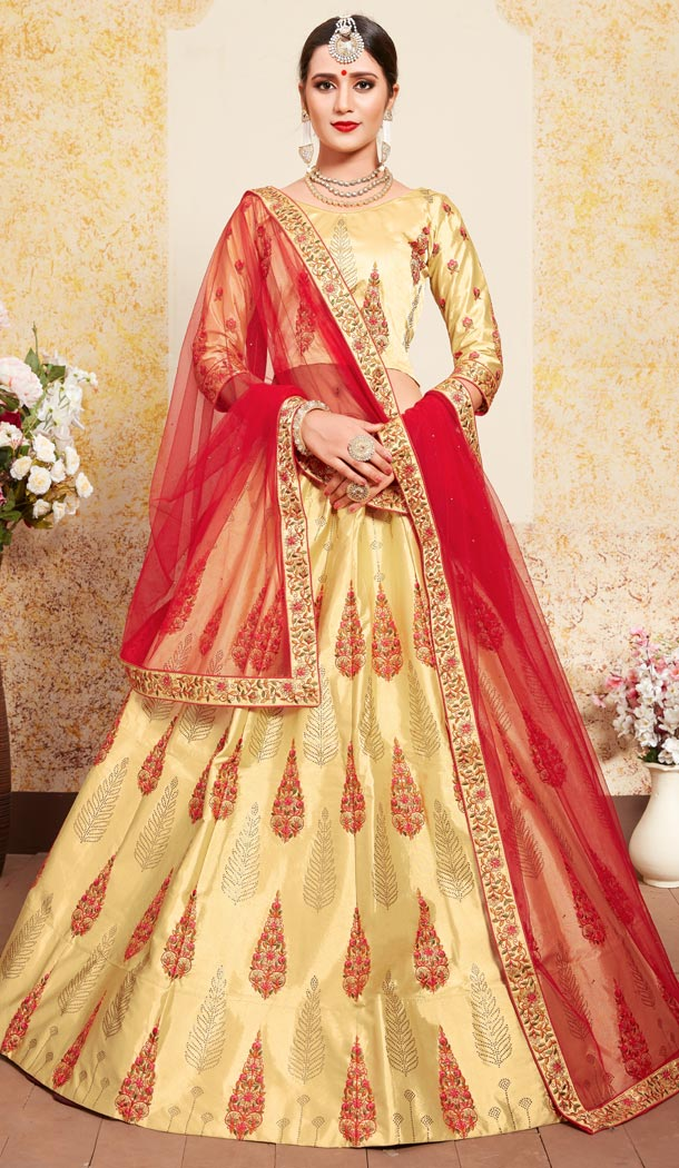 Alluring  Yellow Color Satin Resham Embroidery Wedding Lehenga Choli - 59518936