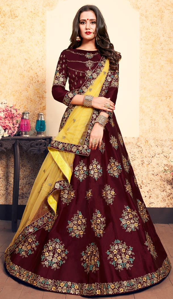 Alluring Maroon Color Satin Resham Embroidery Wedding Lehenga Choli - 59518940