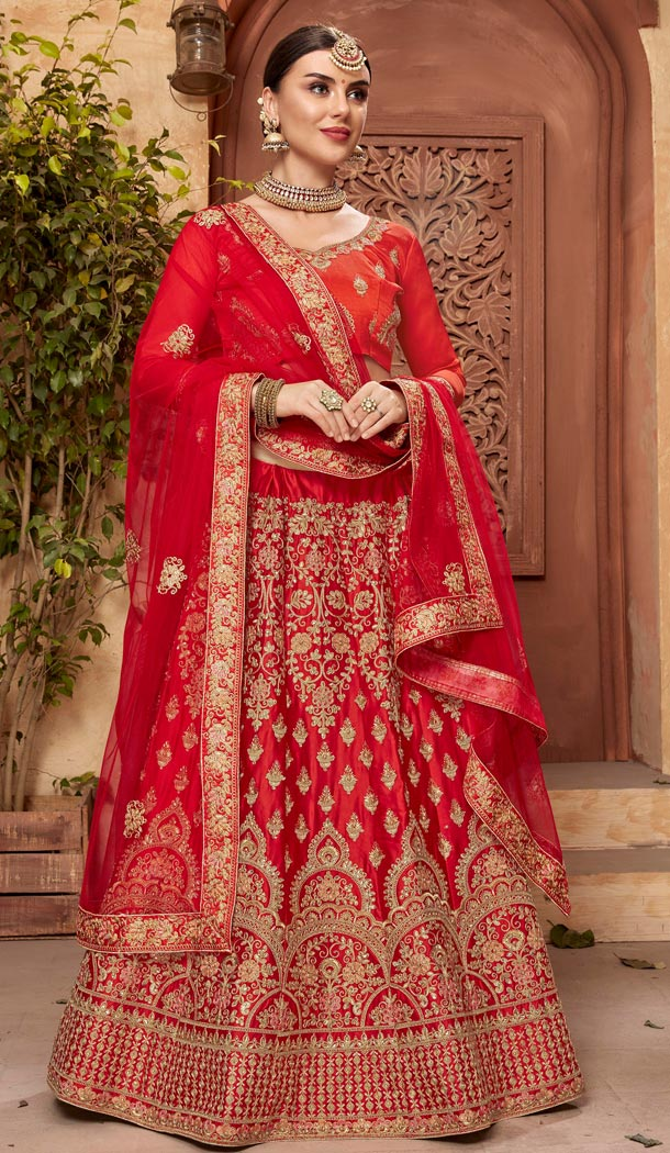 Red Color Satin Silk Embroidery Traditional Lehengas Choli For Women - 59528946