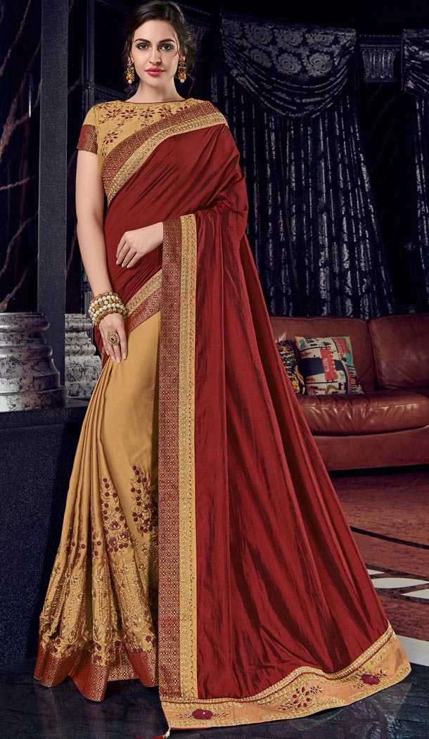 Maroon and Gold Bright Georgette Party Wear Designer Saree - 405649034