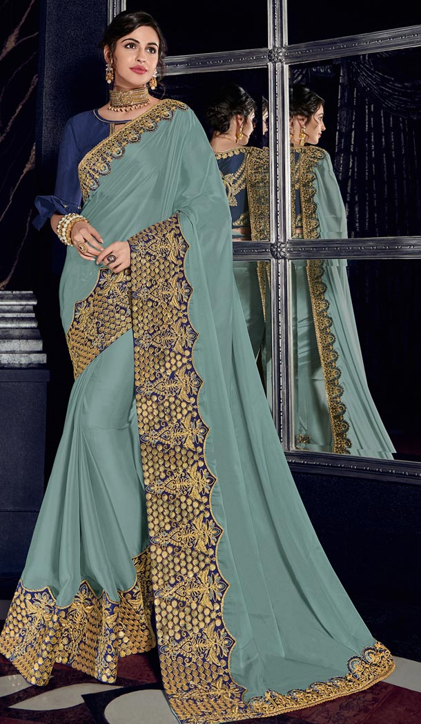 Charming Grey Bright Georgette Party Wear Designer Saree - 405649035