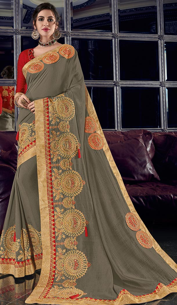 Adorable Grey Color Silk Party Wear Designer Saree - 405649038