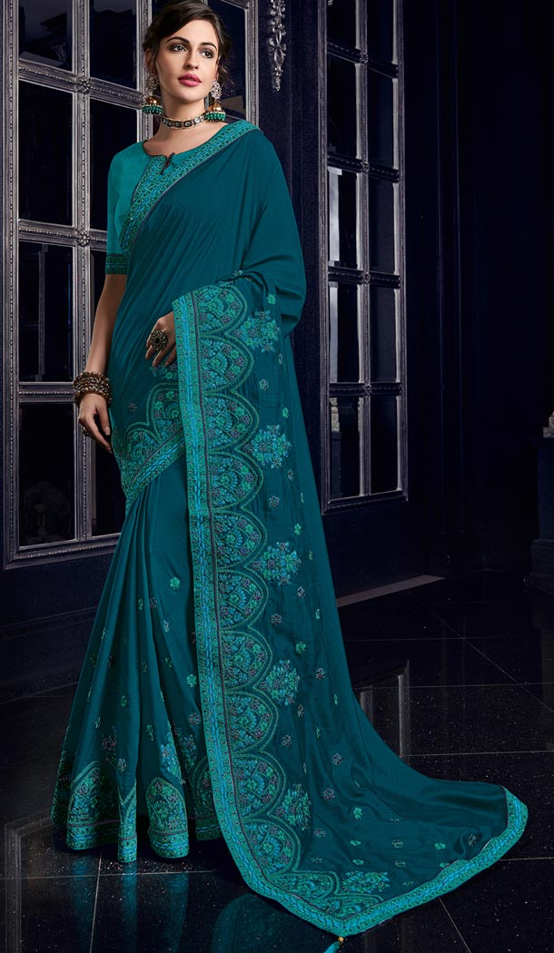 Mesmerizing Peacock Blue Color Silk Party Wear Designer Saree - 405649040