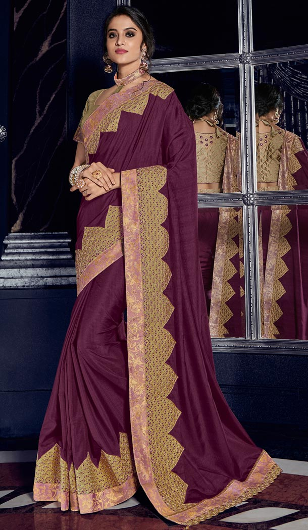 Contemporary Wine Color Silk Party Wear Designer Saree - 405649043