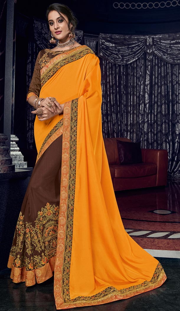 Chic Orange and Brown Color Silk Party Wear Designer Saree - 405649045