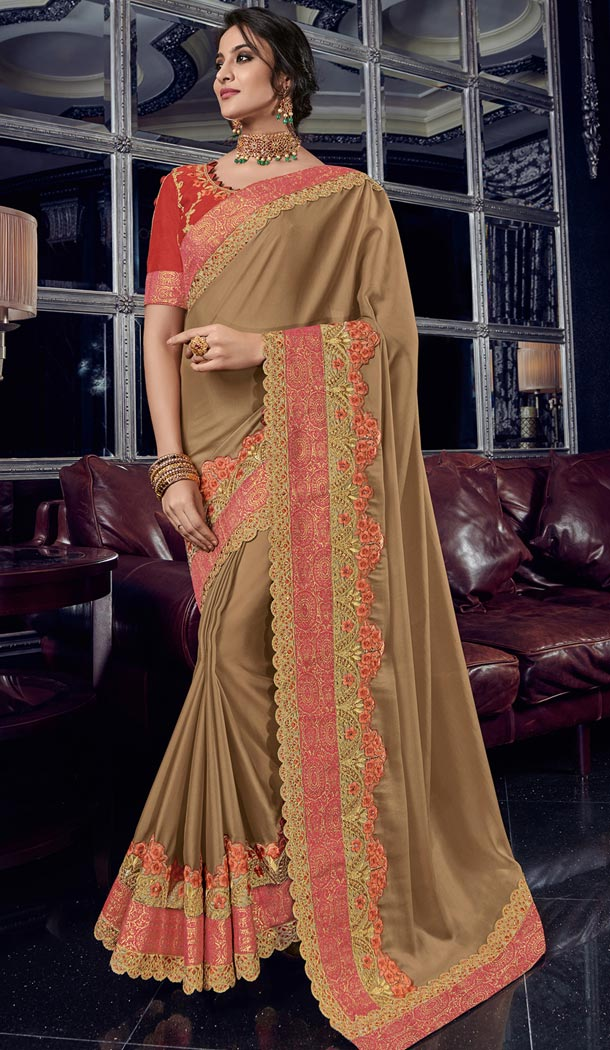 Alluring Beige Color Bright Georgette Party Wear Designer Saree - 405649048