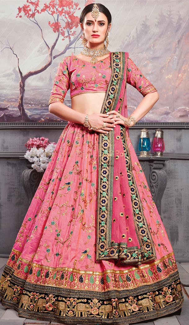 Pink Color Banarasi Silk Traditional Designer Lehenga Choli - 409649587