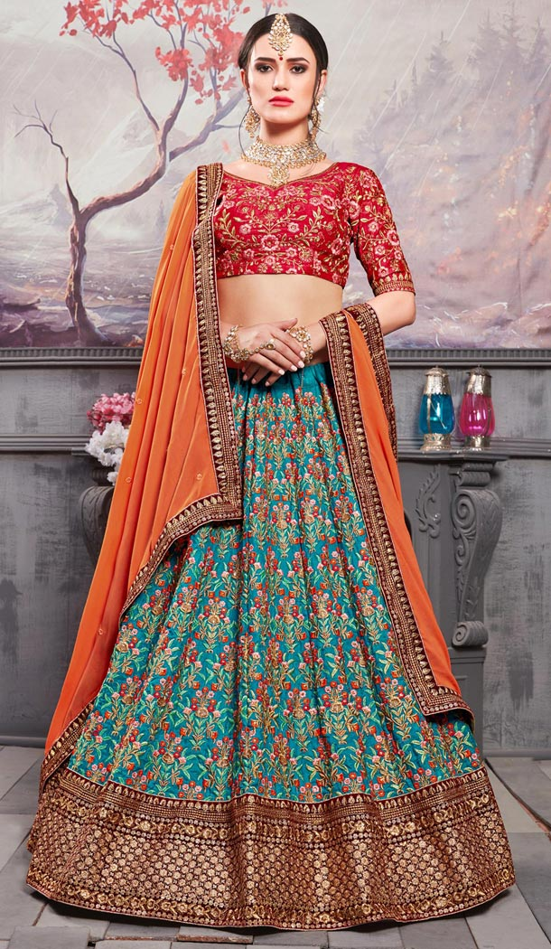 Red Color Banarasi Silk Traditional Designer Lehenga Choli - 409649589