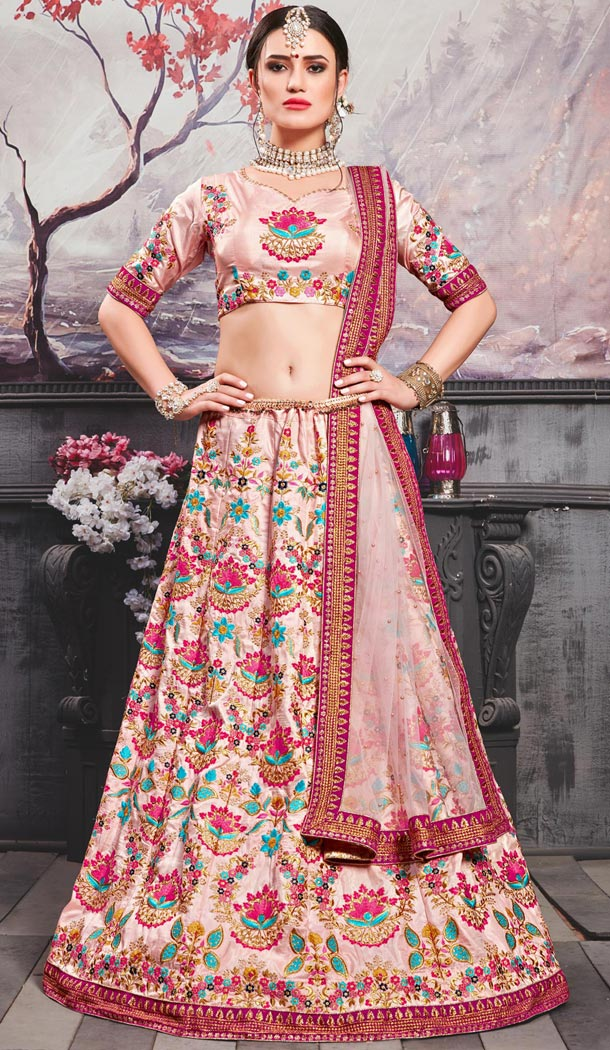 Two Tone Pink Color Silk Traditional Designer Lehenga Choli - 409649590
