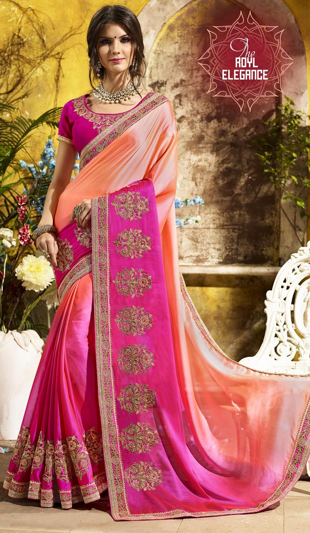Peach and Pink Color Rangoli Georgette Treditioanal Wear Saree Blouse - 408949399