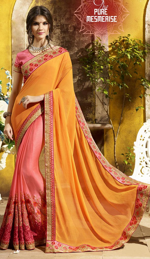 Yellow and Peach Color Two Tone Chiffon Treditioanal Wear Saree Blouse - 408949404
