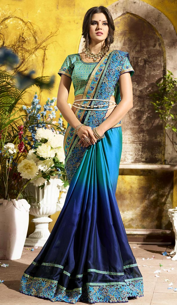 Blue Color Rangoli Georgette Treditioanal Wear Saree Blouse - 408949405