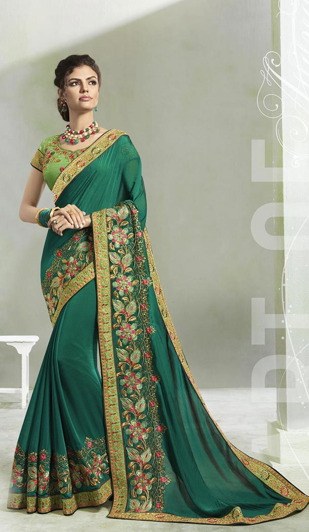 Forest Green Color Silk Two Tone Georgette Treditional Wear Saree - 408649373
