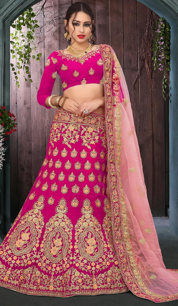 Pink Color Velvet Havvy Work Designer Bridel Lehenga Choli For Women - 410549651