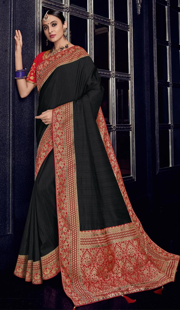 Black Color Row Silk Traditional Wear Saree Blouse - 412450283