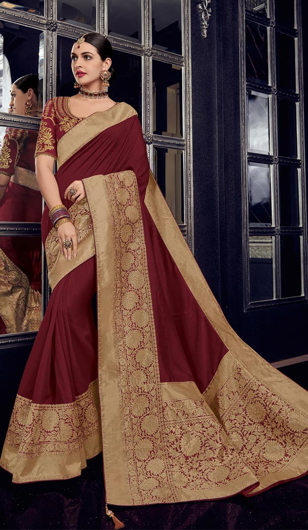 Maroon and Gold Color Row Silk Traditional Wear Saree Blouse - 412450285