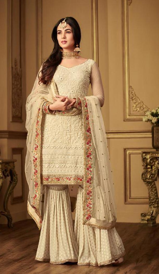 Aesthetic Beige Color Net Designer Party Wear Sharara Salwar Kameez