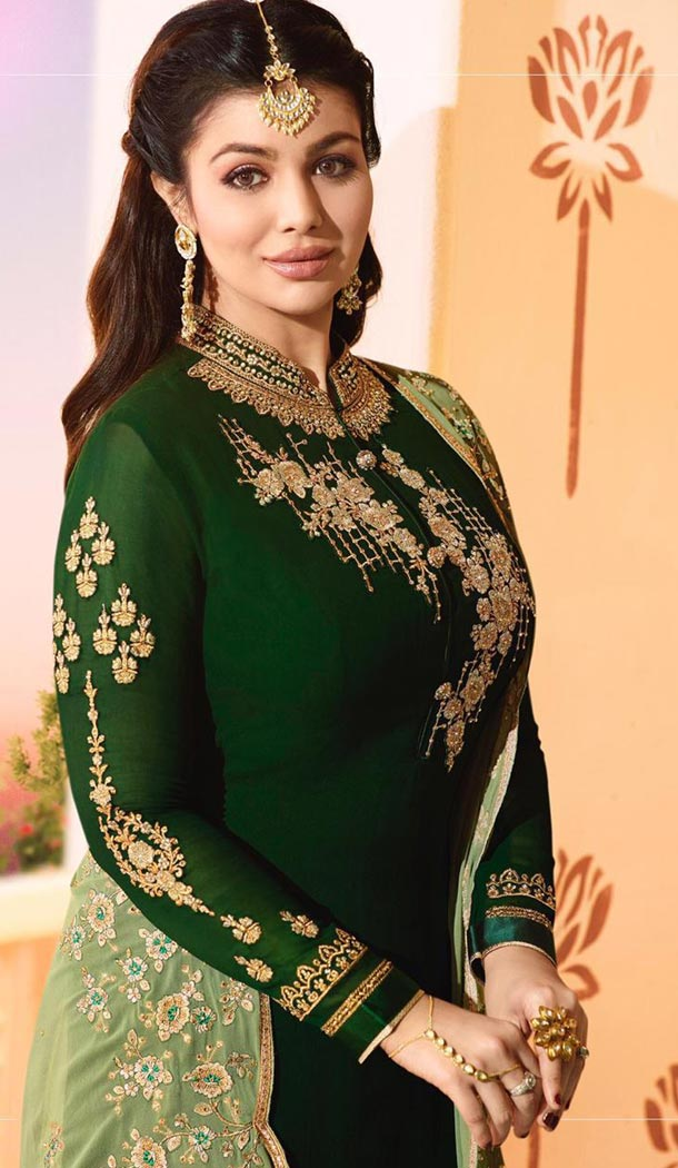Dark Green Color Georgette Bollywood Celebrity Aysha Takia Salwar Kameez - 417450887