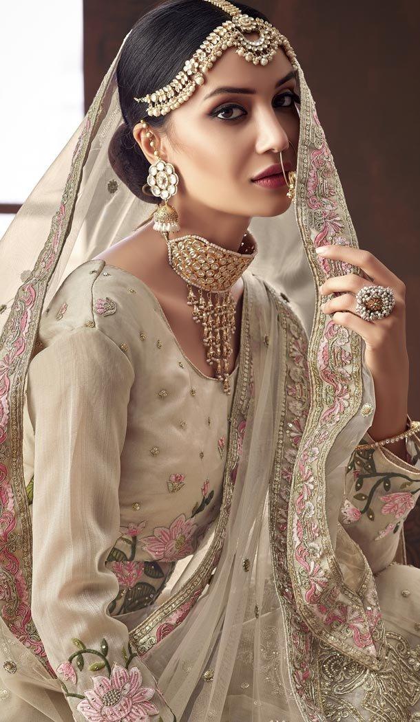 Coco Color Organza Silk Bridel Wear Designer Lehenga Choli - 416950842