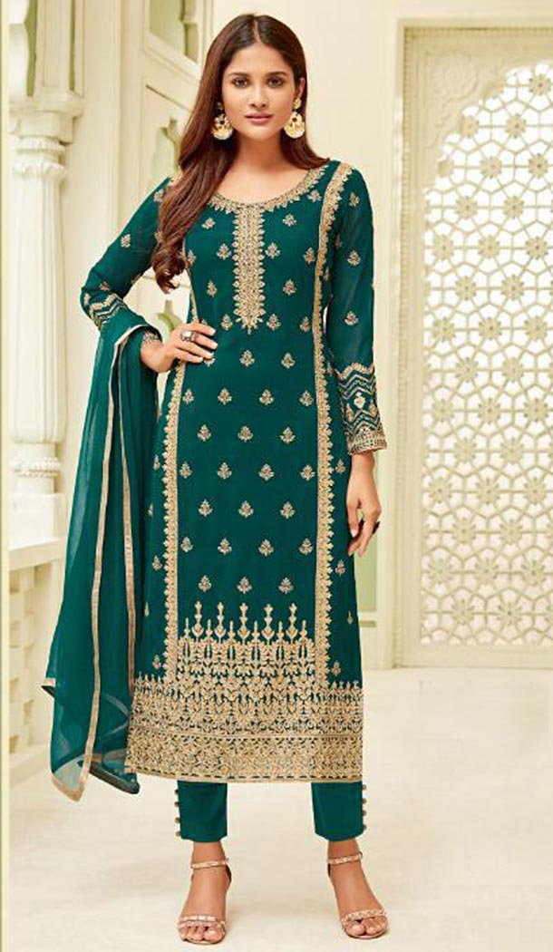 Peacock Blue Color Georgette Evening Wear Party Wear Salwar Kameez - 418050954
