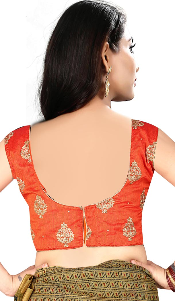 Orange Color Silk Sleeve Less Party Wear Readymade Blouse - 418850998
