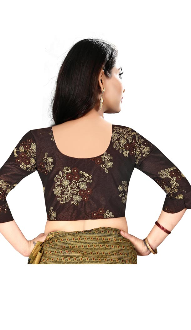 Brown Color Silk 3/4 Sleeve Party Wear Readymade Blouse - 418851007