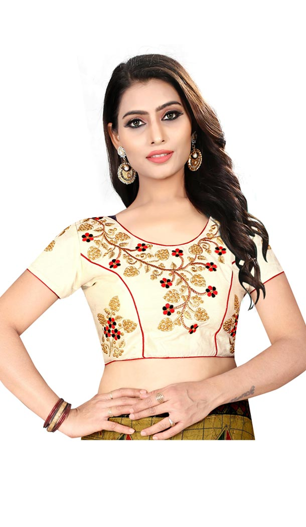 Cream Color Silk Short Sleeve Party Wear Readymade Blouse - 418851008