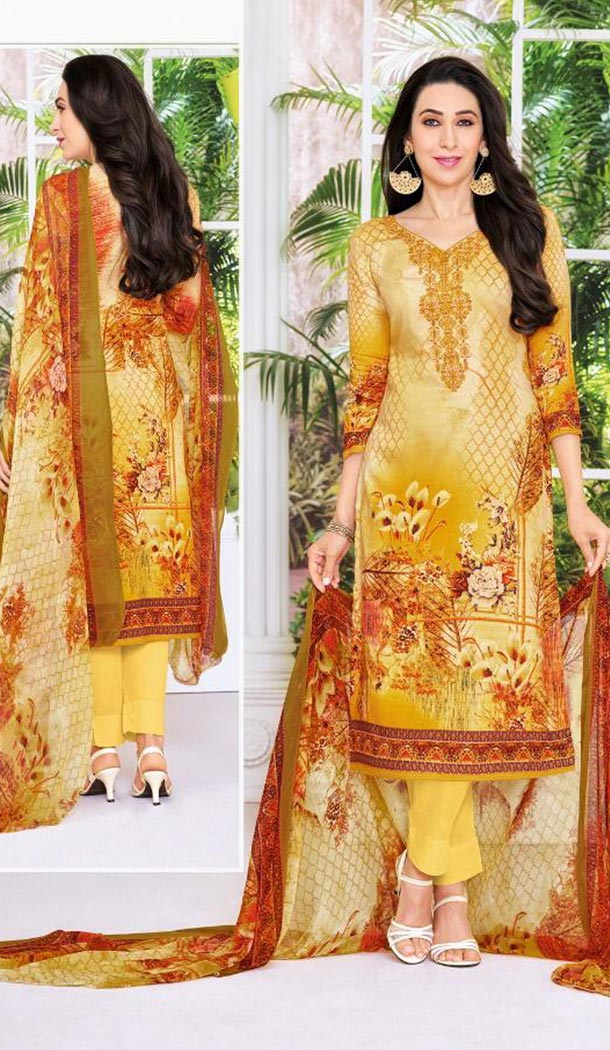 Bollywood Celebrity Karishma Kapoor Yellow Color Pure Jaam Satin Salwar Kameez - 419651105