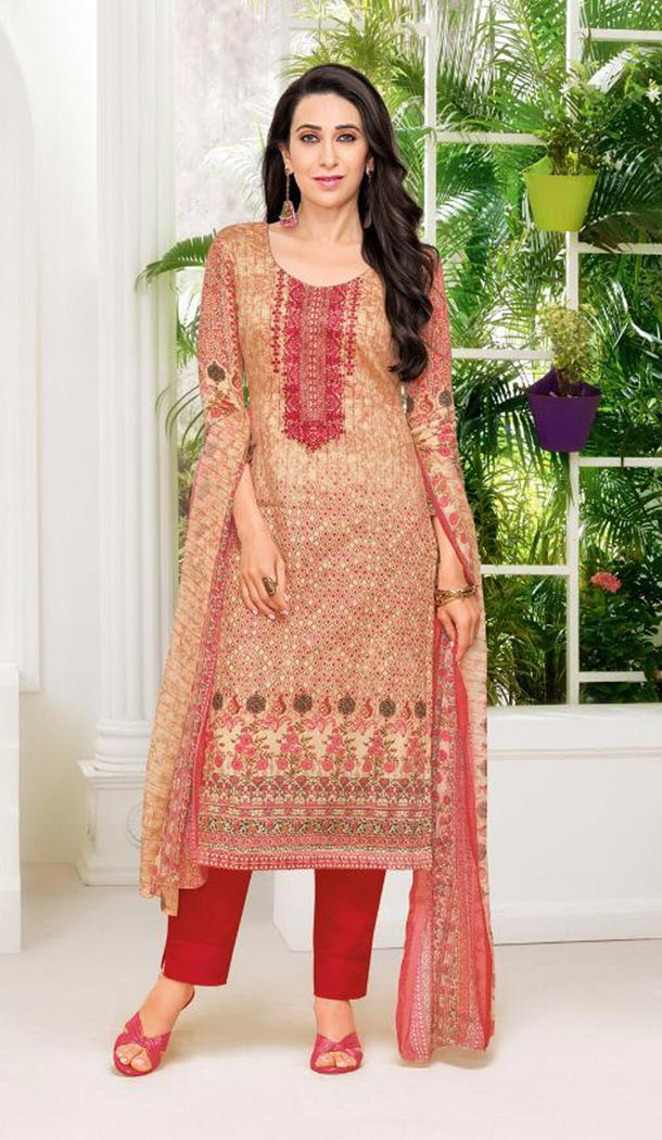 Bollywood Celebrity Karishma Kapoor Apricot Color Pure Jaam Satin Salwar Kameez - 419651107