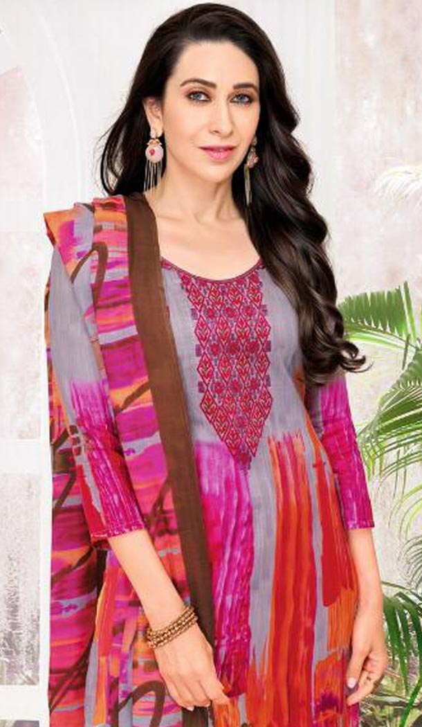Bollywood Celebrity Karishma Kapoor Multi Color Pure Jaam Satin Salwar Kameez