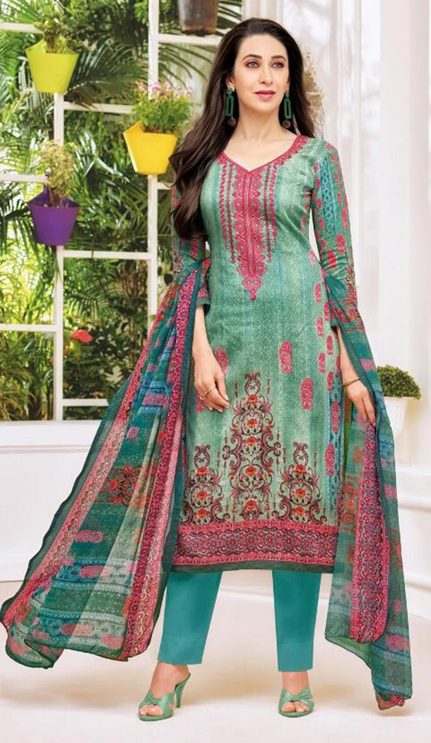 Bollywood Celebrity Karishma Kapoor Turquoise Color Pure Jaam Satin Salwar Kameez - 419651112