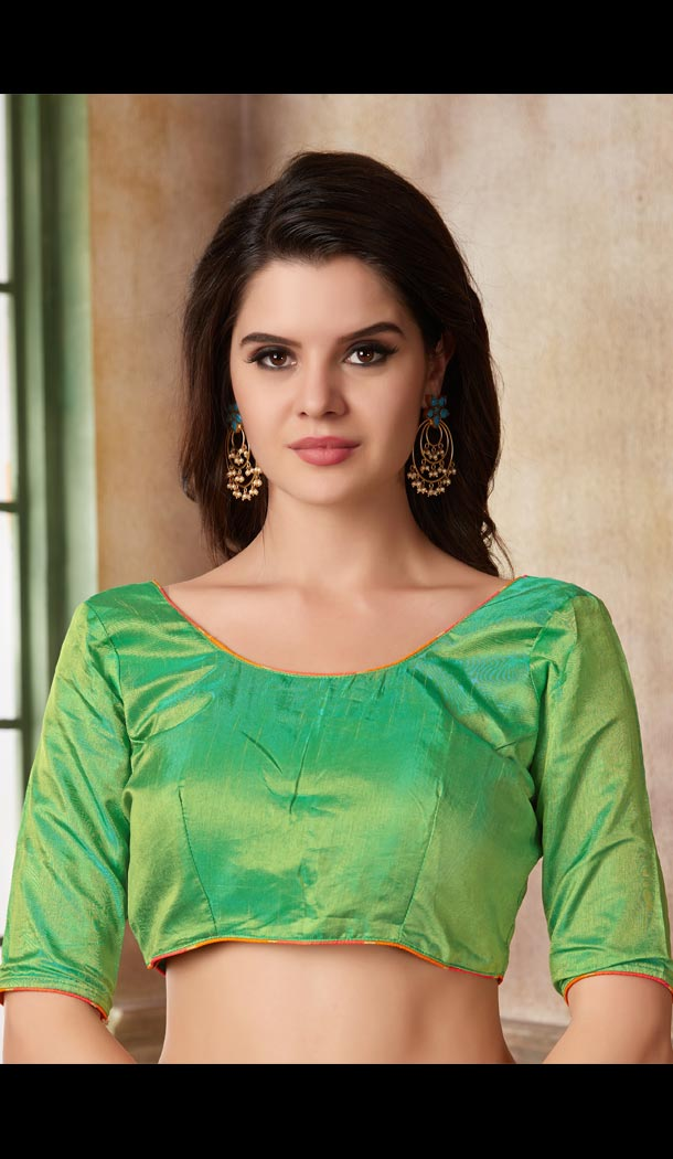 Green Color Two Ton Silk Party Wear Round Neck Readymade Blouse - 3543107