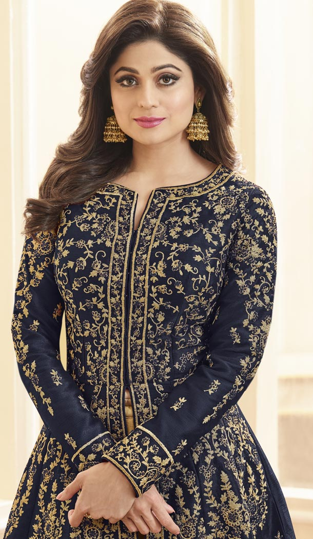 Shilpa Shetty Kundra Navy Blue Color Mulberry Silk Designer Gown