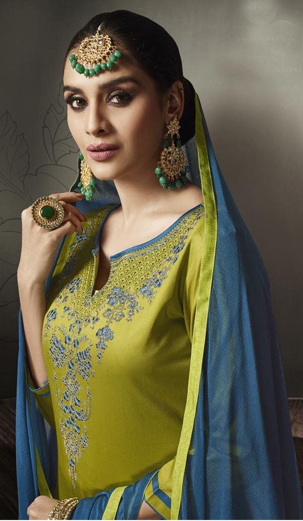 Olive Green Color Jam Silk Cotton Party Wear Lehenga Suit