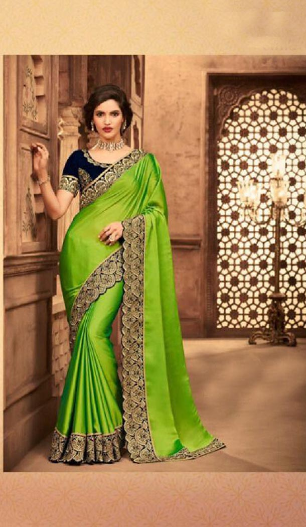 Majesty Green Color Silk Heavy Embroidery Traditional Saree - 421951344