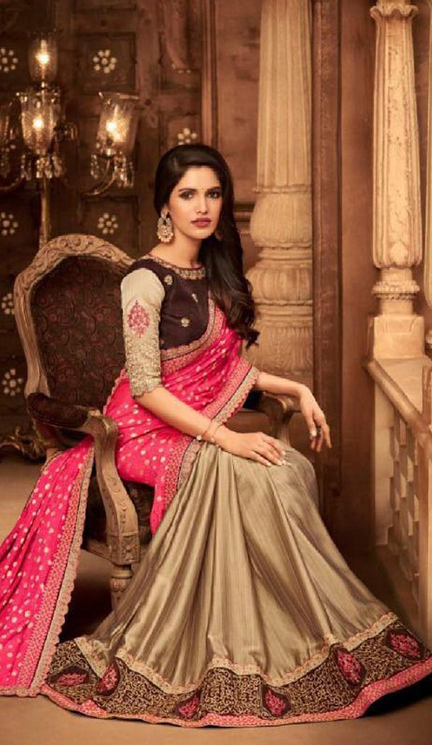 Pink And Beige Color Silk Heavy Embroidery Traditional Saree - 421951349