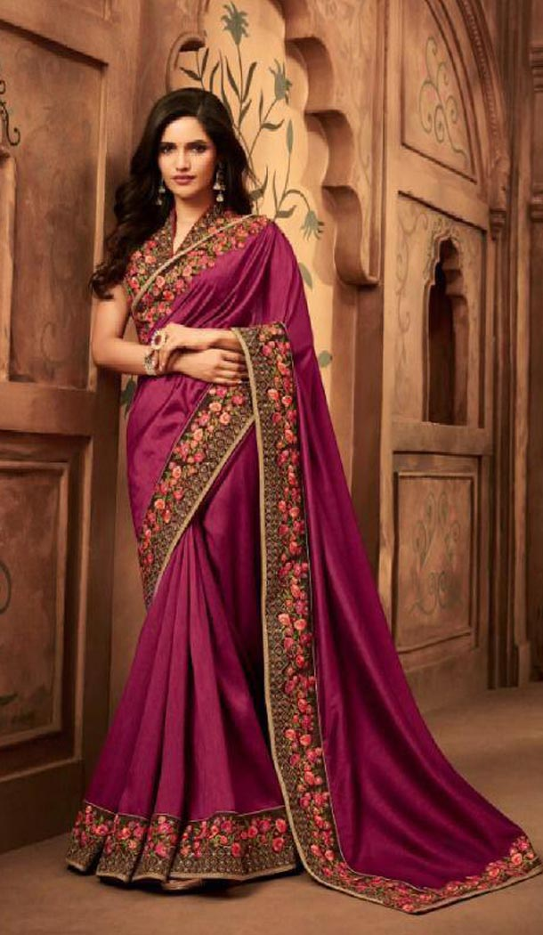 Ethnic Violet Color Silk Heavy Embroidery Traditional Saree