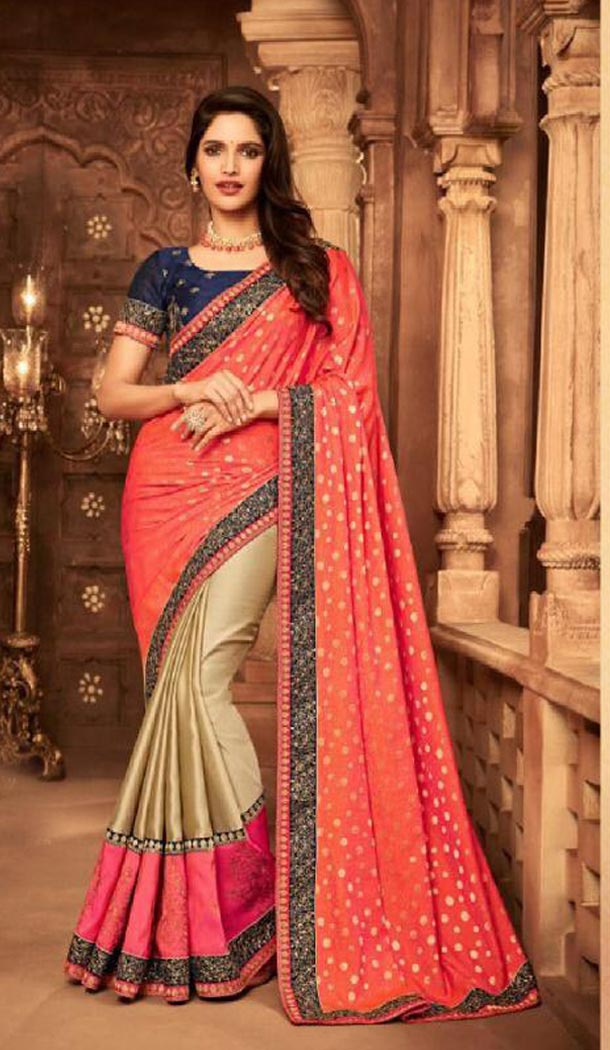 Orange And Beige Color Silk Heavy Embroidery Traditional Saree