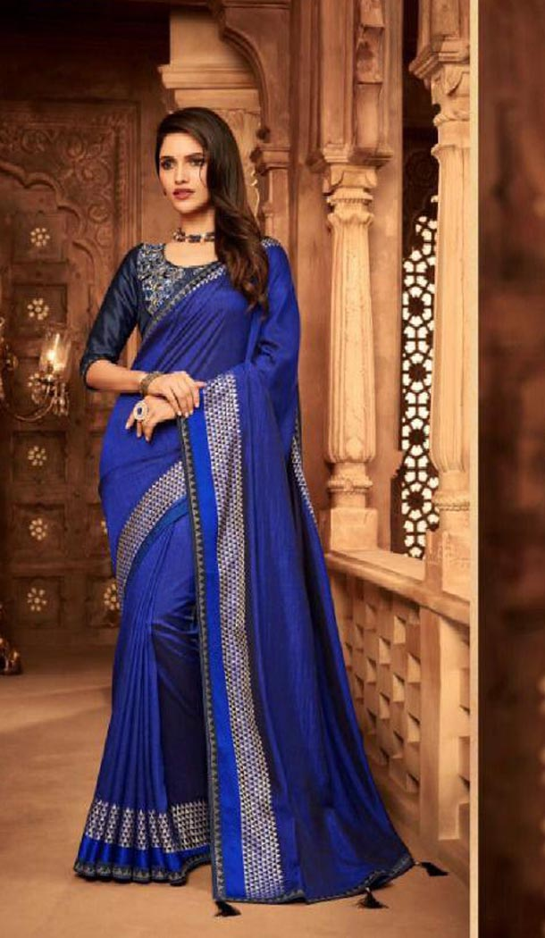 Royal Blue Color Silk Heavy Embroidery Traditional Saree - 421951358