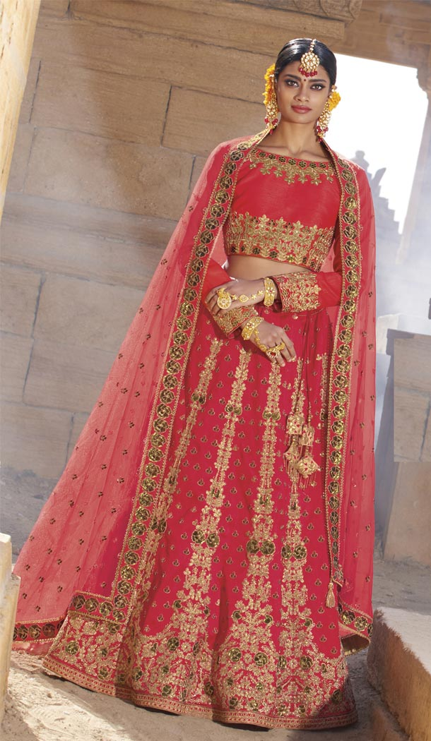 Hot Pink Color Raw Silk Desiger Bridal Wear Lehenga Choli - 425051770