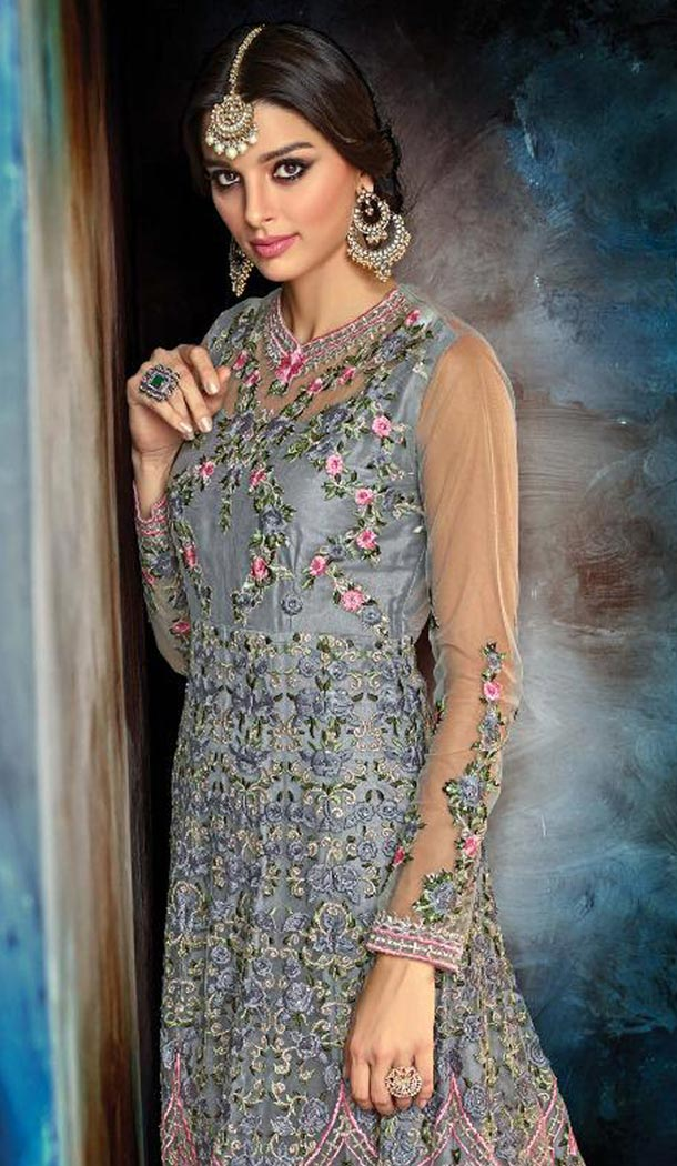 Grey Color Butterfly Net Designer Pakistani Anarkali Salwar Kameez - 423351570