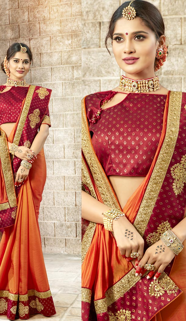 Mesmerizing Orange Color Rangoli Silk Traditional Wear Sarees Blouse