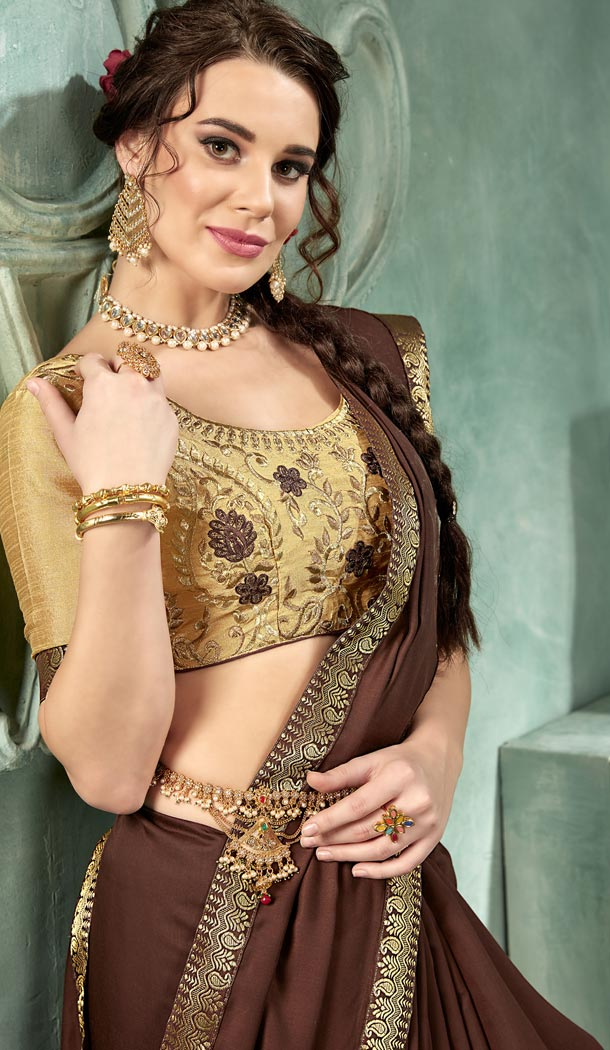 Coffee Color 60 Grams Georgette Casual Wear Saree Blouse